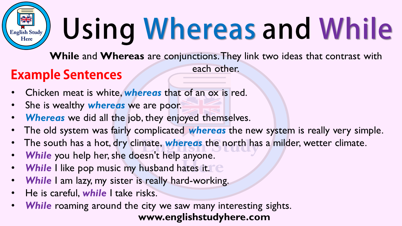 Using Whereas And While In English English Study Here