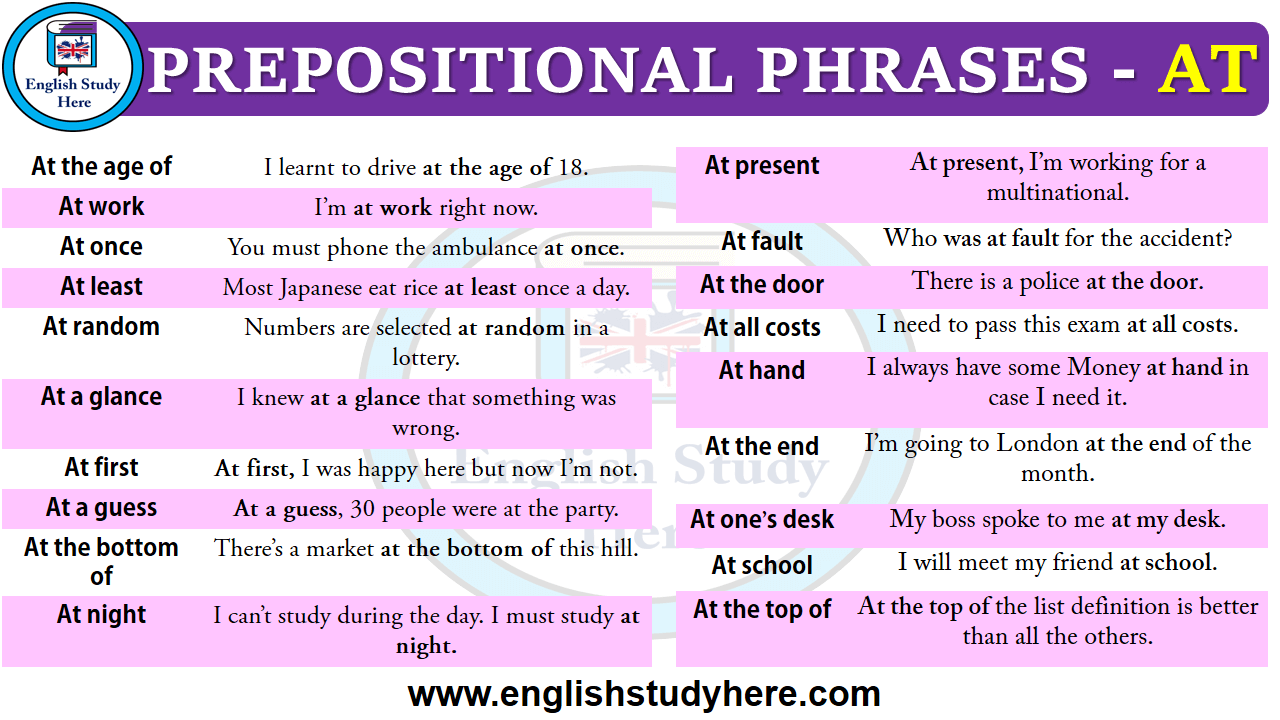 Prepositiona Phrases - At in english