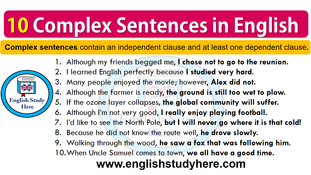 10 Complex Sentences in English