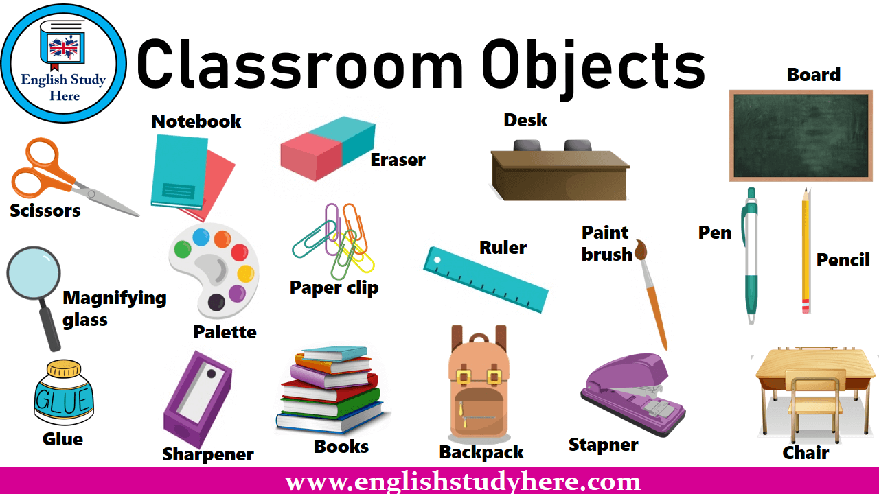 classroom objects english study here. Black Bedroom Furniture Sets. Home Design Ideas