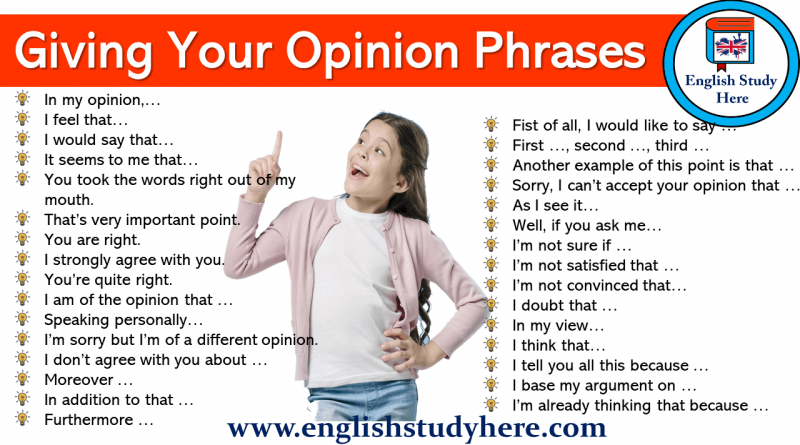 Giving Your Opinion Phrases