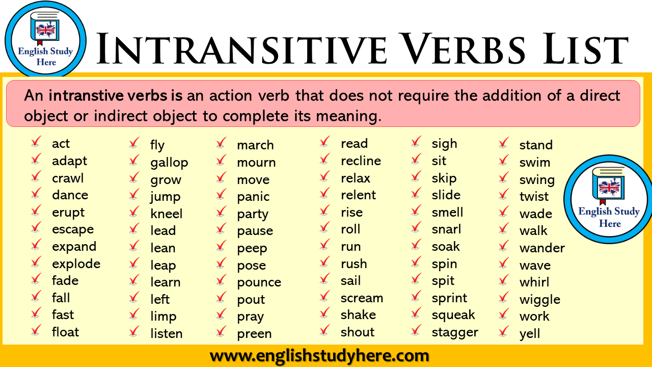 intransitive verbs list in english