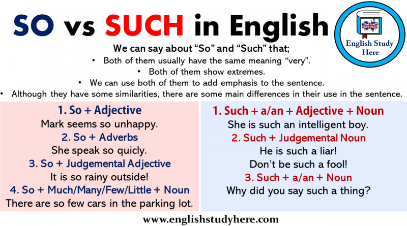 SO vs SUCH in English