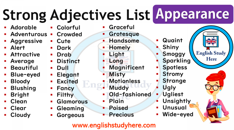 Strong Adjectives List - Appearance