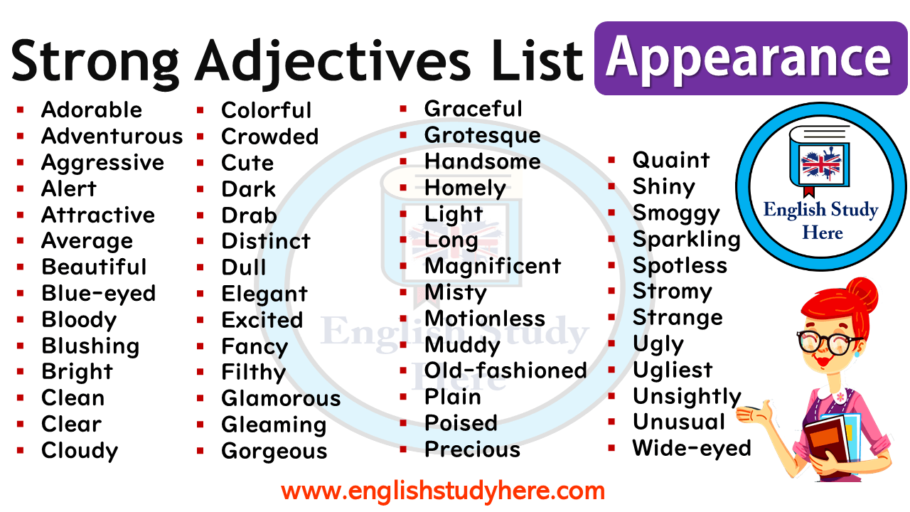 Strong Adjectives List Appearance English Study Here