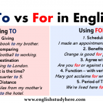 To vs For in English