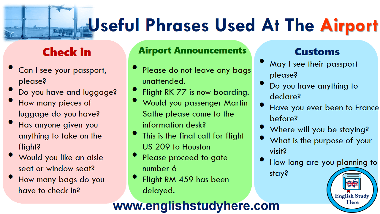 Useful Phrases Used At The Airport English Study Here