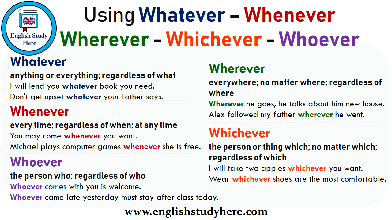 Using Whatever – Whenever - Wherever - Whichever - Whoever in English