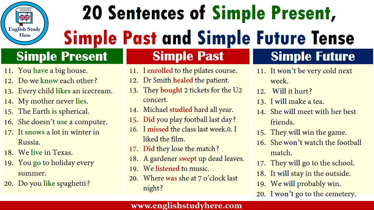 20 Sentences of Simple Present, Simple Past and Simple Future Tense
