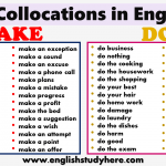 Collocations in English MAKE and DO in English