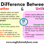 Difference Between Whether and Unlike in English