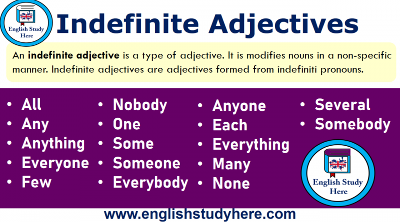 Indefinite Adjectives in English