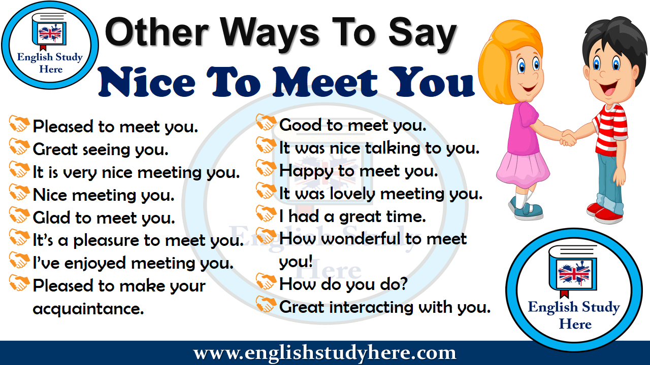 Other Ways To Say Nice To Meet You in English