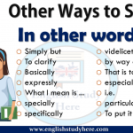 Other Ways to Say In other words