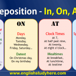 Preposition - In, On, At, Ago in English