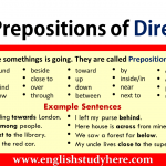 Prepositions of Direction in English