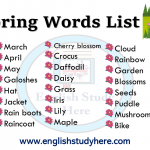 Spring Words List in English