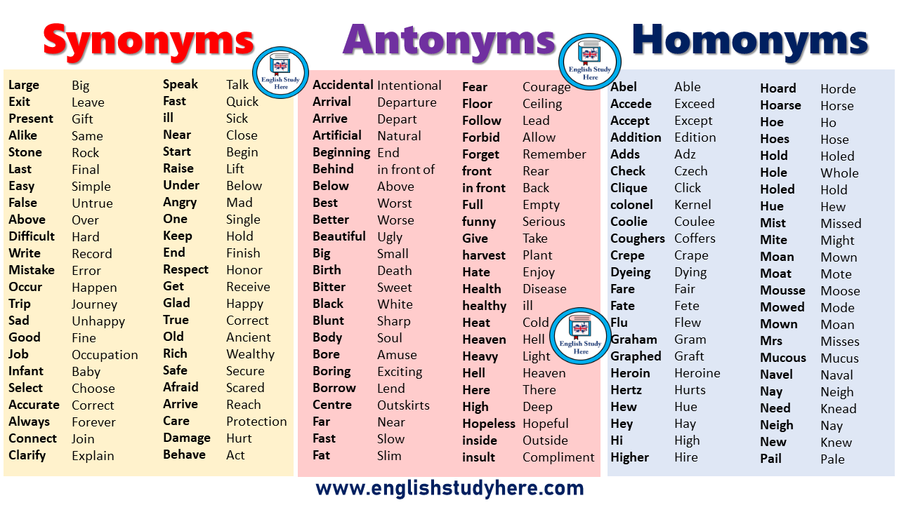 Synonyms, Antonyms, Homonyms List - English Study Here