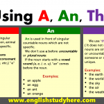 Using A, An, The in English