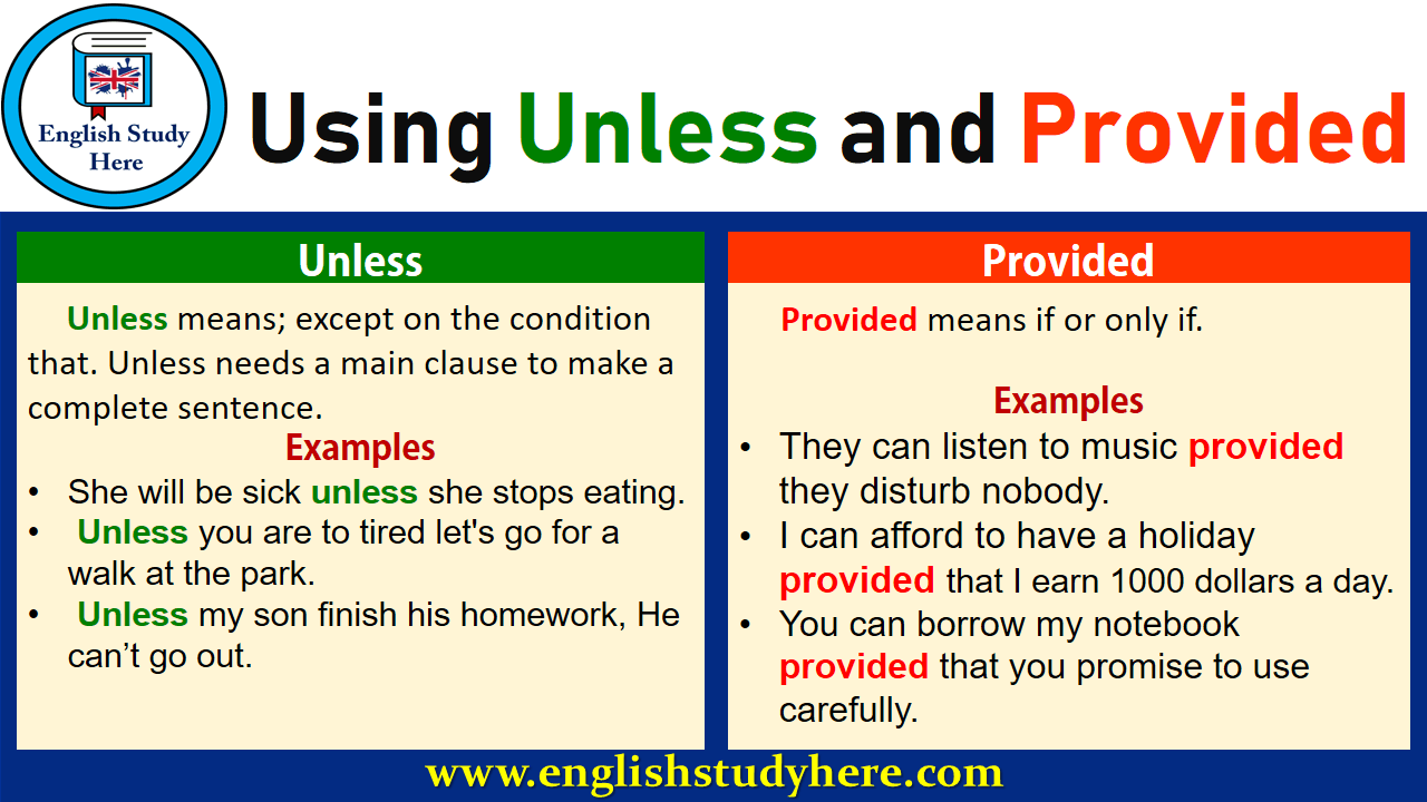 Using Unless and Provided in English