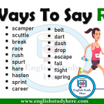 Ways To Say RUN in English