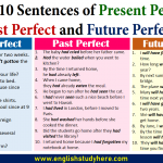 10 Sentences of Present Perfect, Past Perfect and Future Perfect Tense