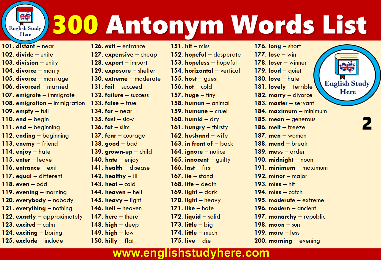 300 Antonym Words List English Study Here