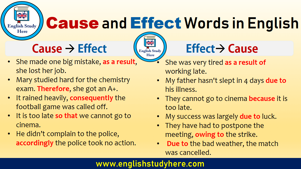 Cause and Effect Words in English