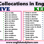 Collocations in English GIVE and KEEP