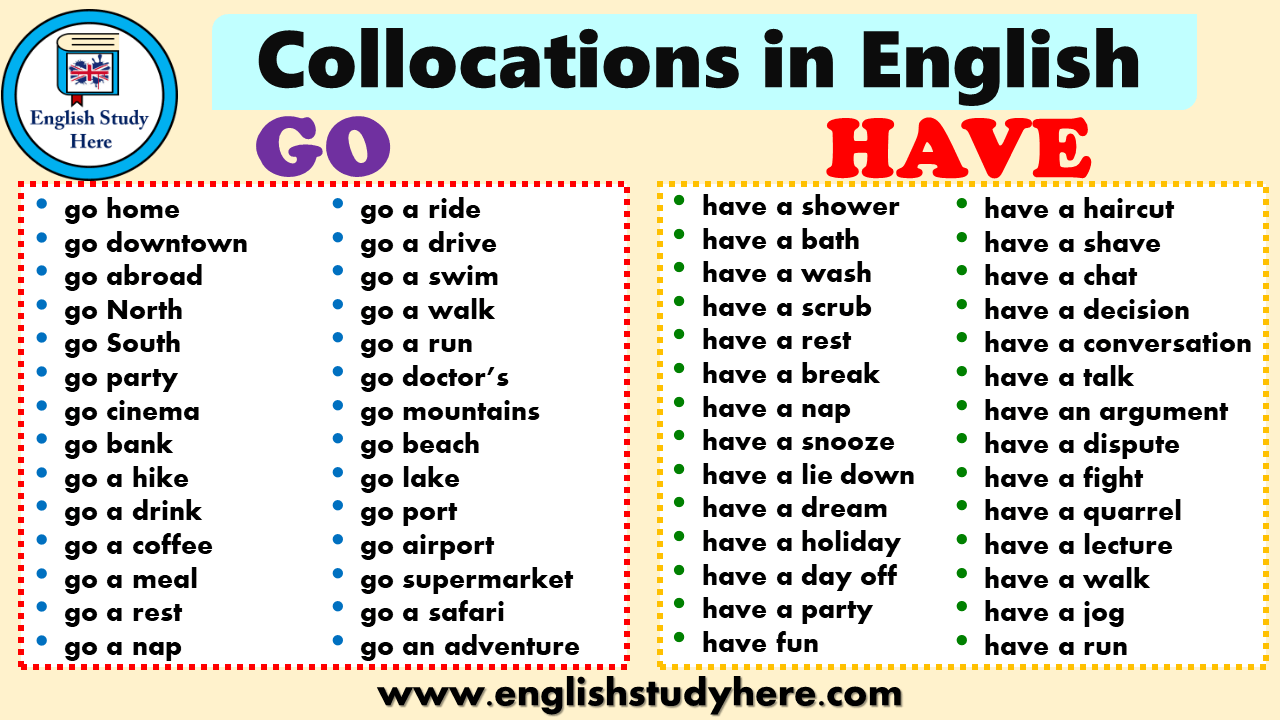 Collocations in English GO and HAVE - English Study Here