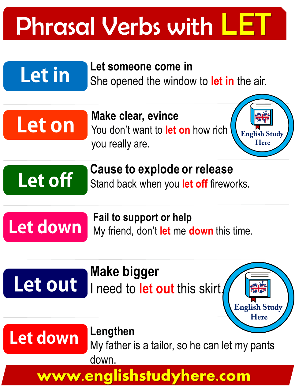 Phrasal Verbs with LET in English