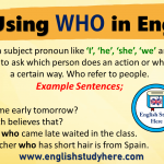 Using WHO in English