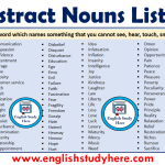Abstract Nouns List in English
