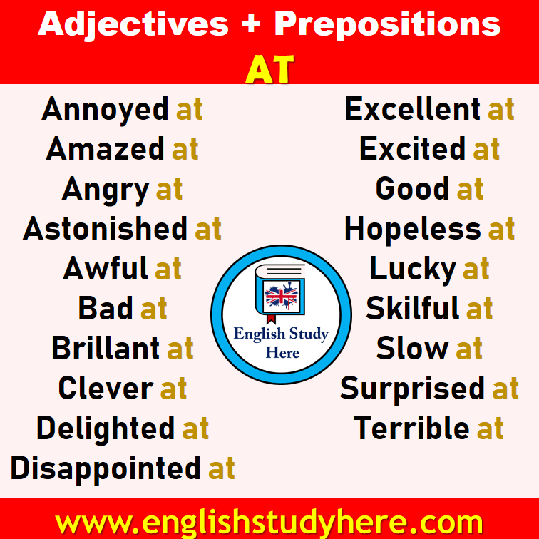 Adjectives + Prepositions AT List in English