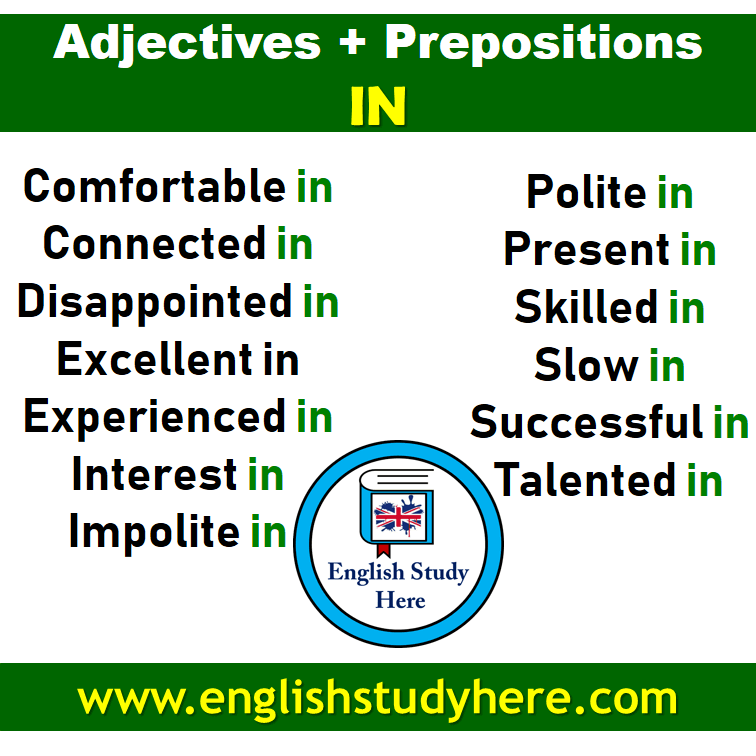 Adjectives + Prepositions IN List in English