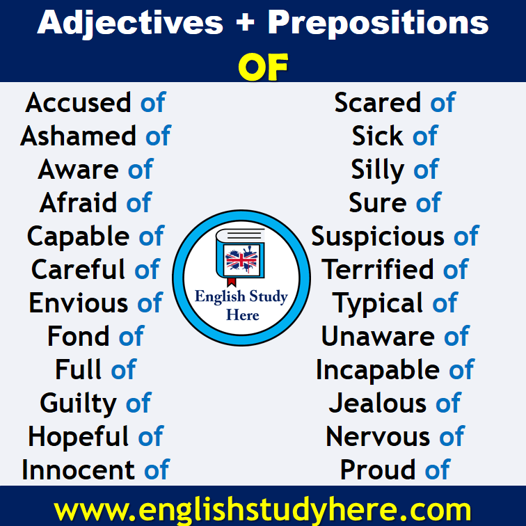 Adjectives + Prepositions Of List in English