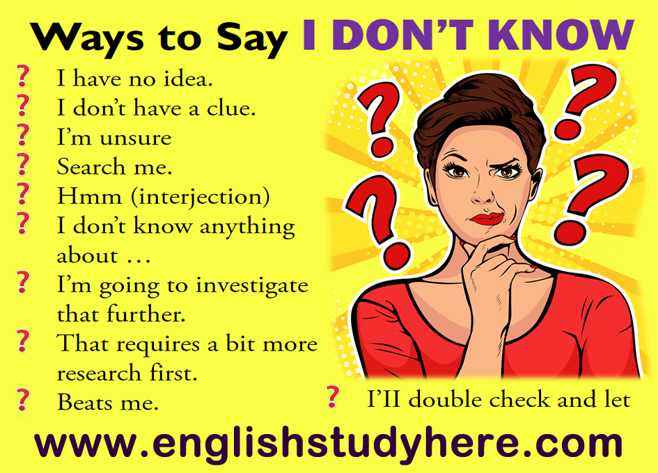 22 Ways to Say i don't know in english