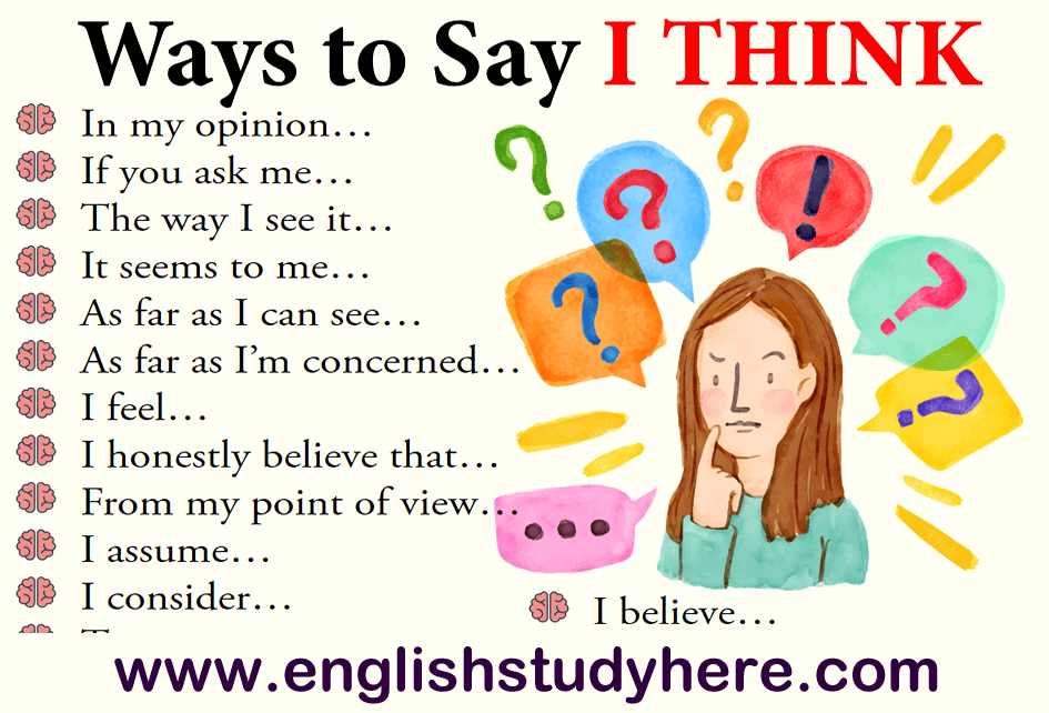 27 Ways to Say I THINK in English
