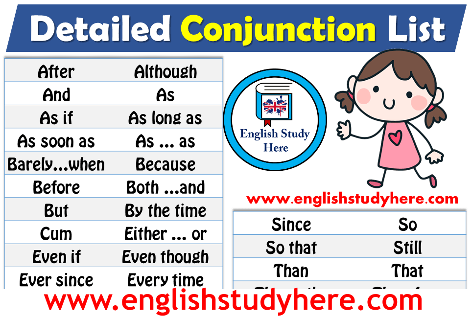 Detailed Conjunction List in English