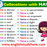 English Collocations HAVE in English