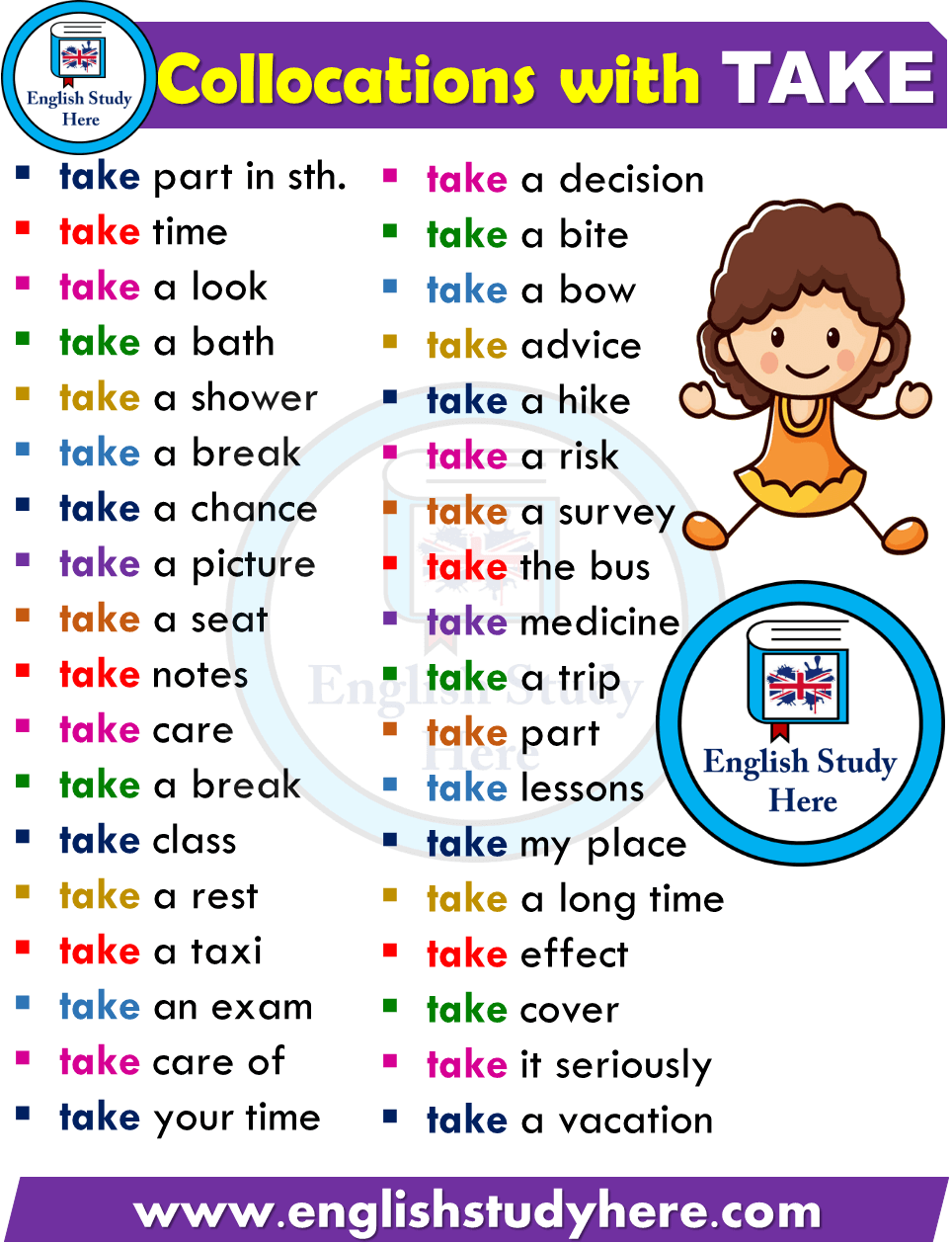 English Collocations with TAKE