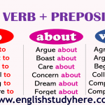 verb + preposition list to-about-with