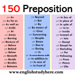 150 Preposition List in English