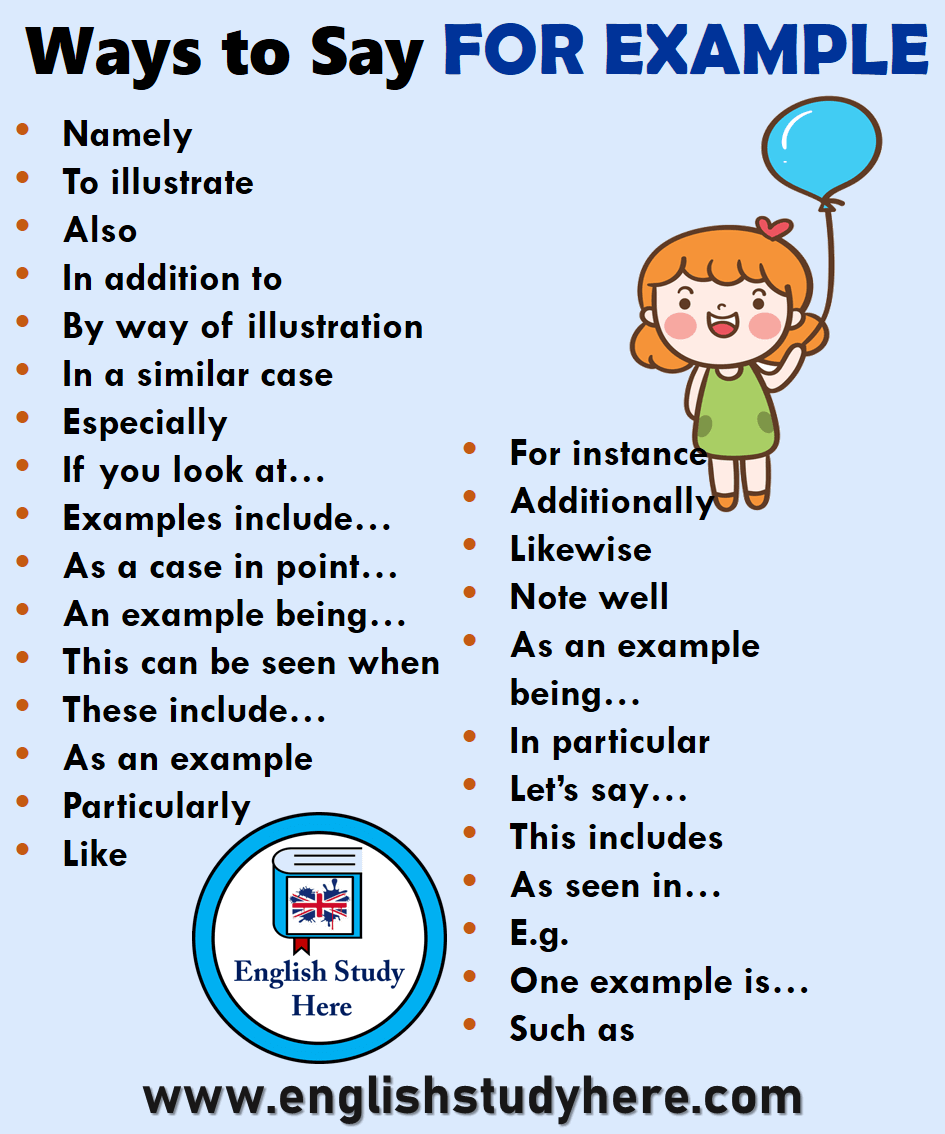 28 Ways to Say FOR EXAMPLE in English