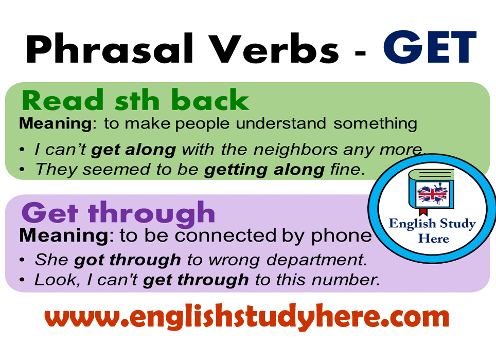 English Phrasal Verbs with GET, Definitions, Examples