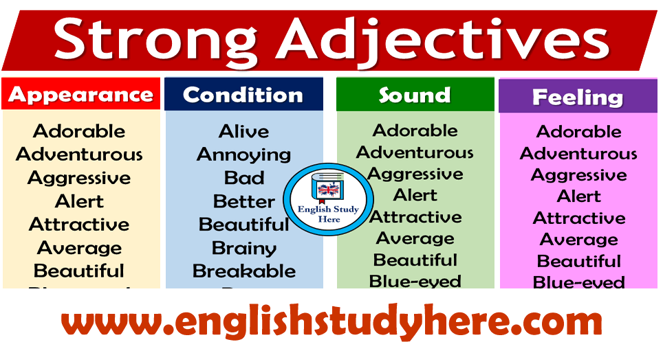 English Strong Adjectives List