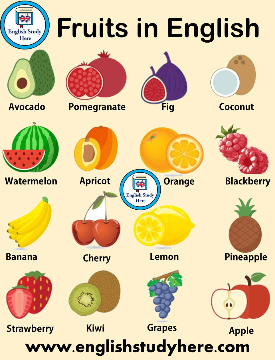 Names of Fruits in English | Learn Names of Fruits | Fruits Names For Kids