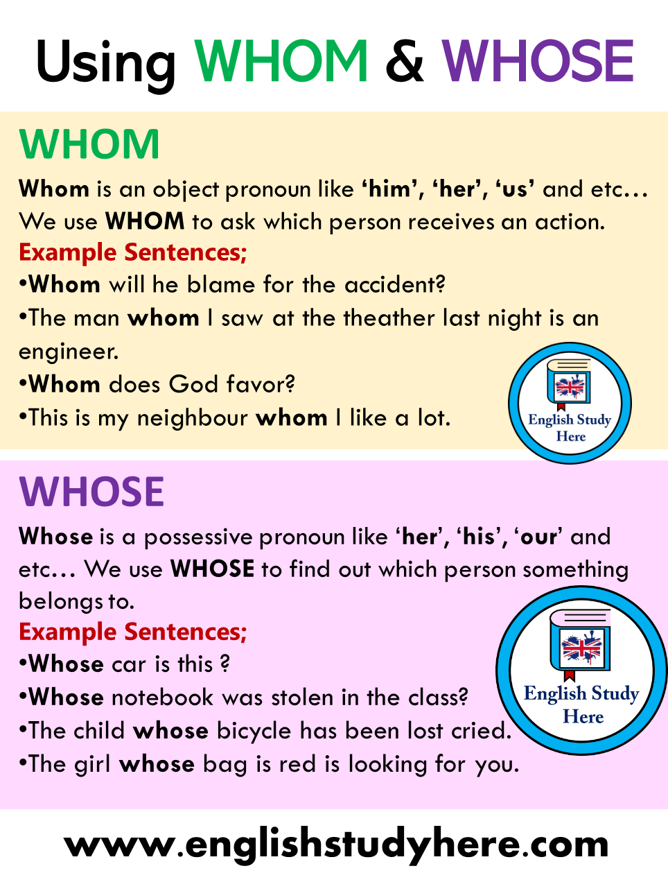 Using, Difference Whom and Whose in English