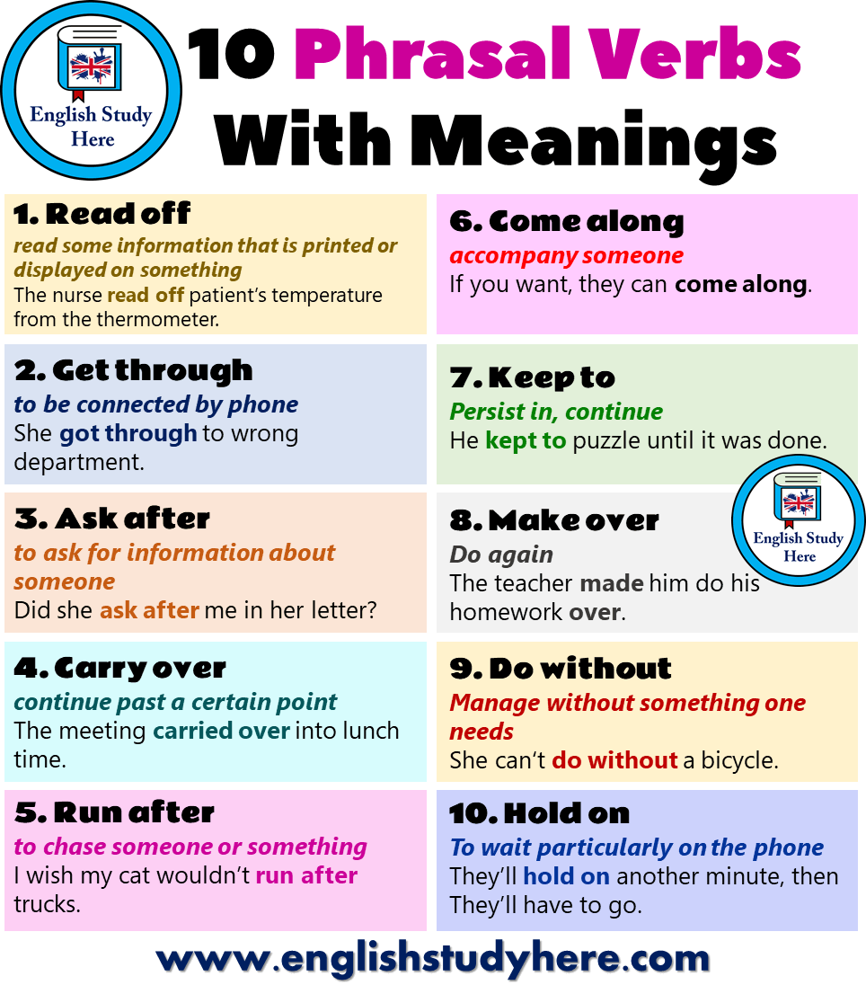 10 Phrasal Verbs With Meanings in English