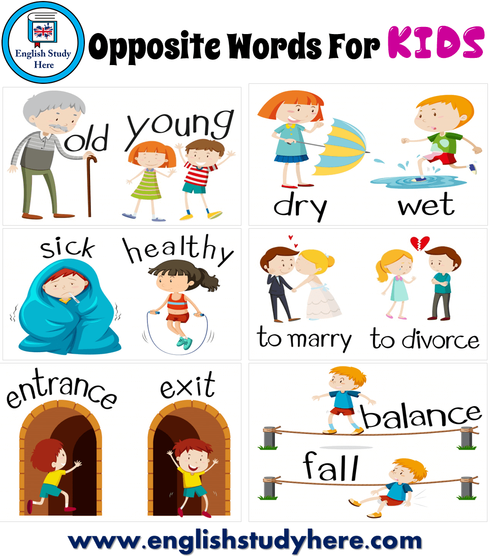 Opposite Words List in English For KIDS